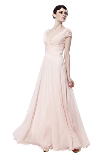 CharliesBridal Light Pink V-Neck Formal Evening Dress with Short Sleeve - L - Light Pink