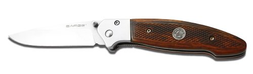 Sarge Knives SK-405 Wood Pistol Grip Liner Lock Folder Knife with 3-1/4-Inch Stainless Blade and Pistol Grip Textured Handle