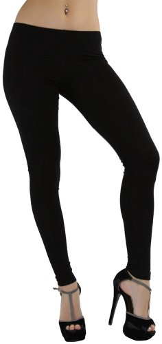 ToBeInStyle Women's Skinny Fit Full-Length Cotton Leggings - Black - S