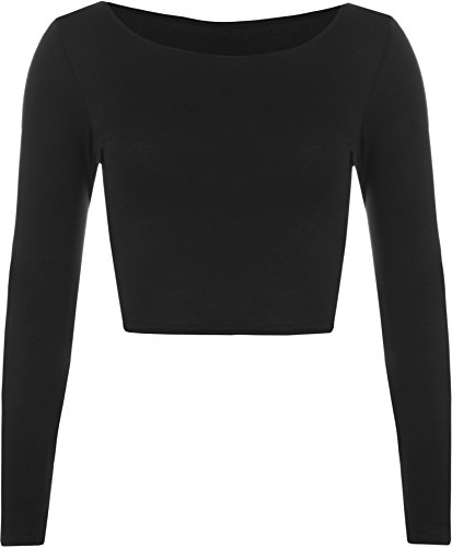 womens-crop-long-sleeve-t-shirt-ladies-short-plain-round-neck-top-black-8-10