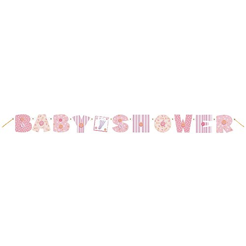 Unique Pink Stitching Baby Shower Jointed Banner