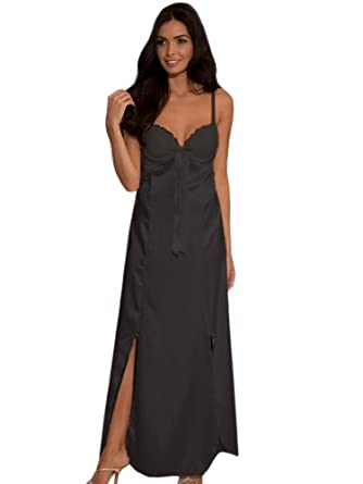 Elegant & SeXy Long BLACK Nightgown Satin Lace Trim Night Gown Size M 8 10