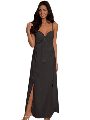 9b07b0f332d Online Shopping In USA: Elegant SeXy Long BLACK Nightgown Satin Lace ...