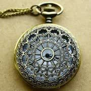 Antique Necklace Pocket Watch With Spider Web Cover