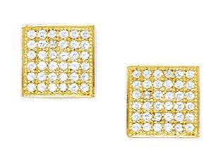 14ct Yellow Gold CZ Large Square Micropave Earrings - Measures 9x9mm