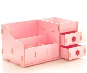 50b7762e1d52 Ning-store Fashion Creative Wooden Double Drawer DIY Cosmetic Make ...