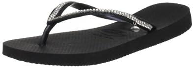 Havaianas Womens' Slim Crystal Mesh Sw Ii Flip Flops Black 5 UK (39/40 EU)