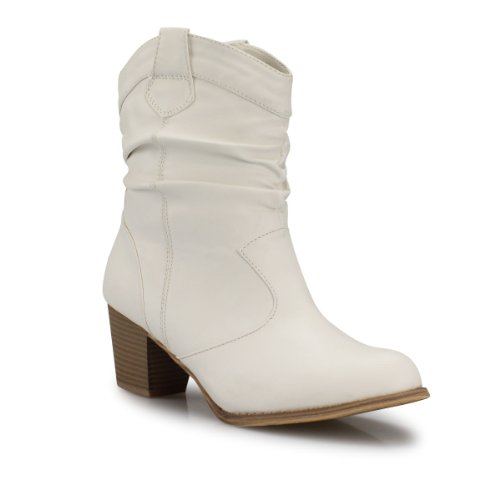Damen Stiefeletten mit Blockabsatz Raffungen Boots Damenstiefel beige camel khaki schwarz weiß weiß 36