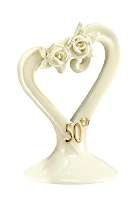 Hortense B. Hewitt Wedding Accessories 50th Anniversary Pearl Rose Cake Top