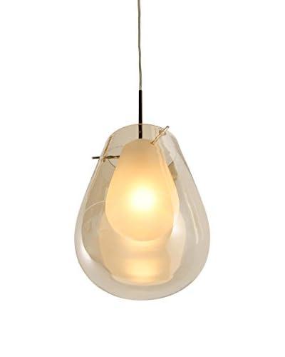 Alternating Current 1 Light 9 Double Glass Mini Pendant, Polished Chrome/Cognac