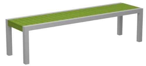 Poly-Wood 3800-11LI Euro Dek Bench, Silver Aluminum Frame, Lime