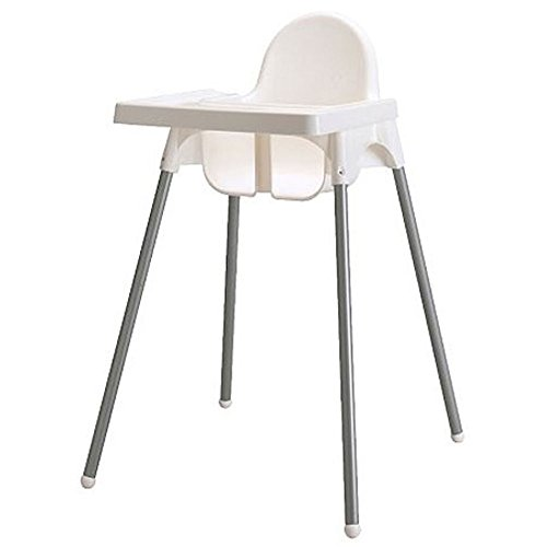 Ikea's ANTILOP Highchair with safety belt, white, silver color and ANTILOP Highchair  white - 1