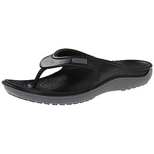 Crocs Black / Charcoal Duet Wave Flip Shoes