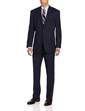 Calvin Klein Men's Malik Suit Stripe, Navy Blue, 36 Short