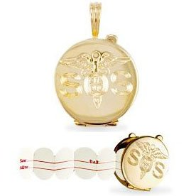 Jewelco London 9ct Solid gold S.O.S engraved Medic Aware locket with water resistant paper insert to note ailments or medication