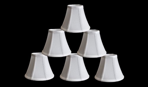 Urbanest 1100460C Set Of 6 Chandelier Mini Lamp Shades 5-Inch, Bell, Clip On, Off White front-56841