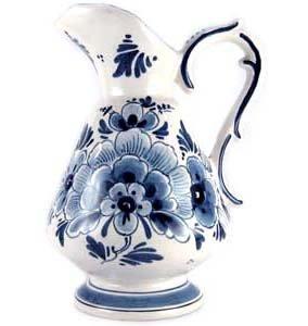 "25"" Squat Rip Flower Pitcher (De Wit Delfts Blauw Bloemen Waterkan"