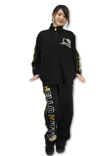 (Sanrio) SANRIO ladies Hello Kitty and down Jersey lame Setup [SAN-519] (BLACK, M)
