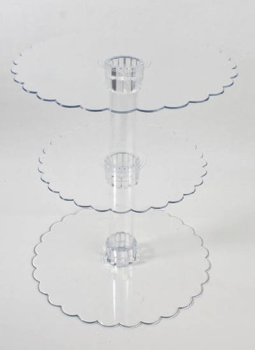 14-1/4 Inch Tall Three Tier Cupcake or Cake Stand with Scalloped Eges Made of Clear Hard Acrylic - Mix and Match Use As a One Tier, Two Tier or Three Tier - Center Tube Is Hollow and Can Be Filled If