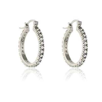 Fashionable Earrings 925 Sterling Silver 25mm Circle size with Crystal Clear CZ Hoop (WoW !With Purchase Over $50 Receive A Marcrame Bracelet Free)