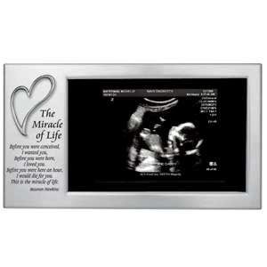Sonogram Frame ~ Miracle Of Life Ultra Sound Keepsake Frame ~ 4''X8'' Satin Silver Steel Frame ~ Wonderful Newborn Baby Shower Gift ~