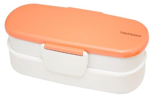 Takenaka Double Bento Box, Slim, Coral front-200936