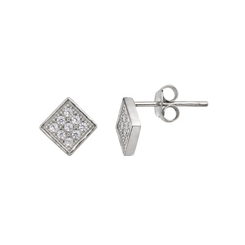 Sterling Silver Micro Pave Cubic Zirconia Diamond Shape Post Earrings