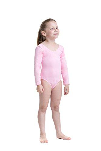 Body danza classica a maniche lunghe per bambine - Body per danza moderna, danza classica, ginnastica ed altre attività sportive - Rosa - Tg. 110 (98-104)
