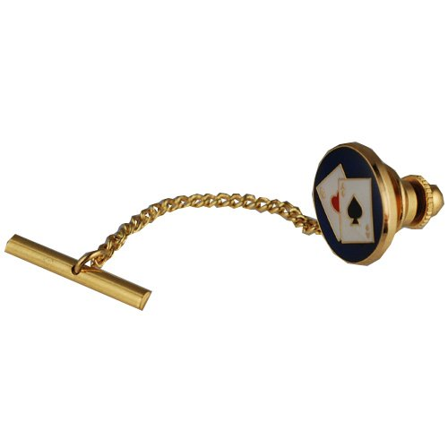 British Jewellery Workshops Hard Gold plated 14x12mm Poker tie tack