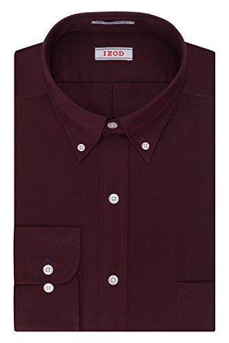 IZOD Men's Twill Regular Fit Solid Button Down Collar Dress Shirt