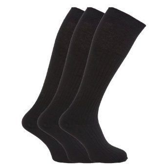 Mens Ribbed Long Length 100% Cotton Socks (Pack of 3) (US Shoe 6.5 - 11.5) (Black)
