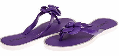 VeeVee Ladies Flip Flop With Flower Ornament - Purple, Size 7 / 8 (More Colors and Sizes Available) Sequined Espadrille
