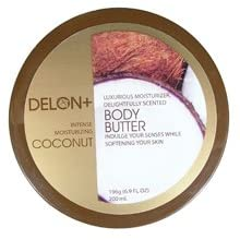 DELON Moisturizing Coconut Body Butter with Natural Extracts 6.9oz/196g