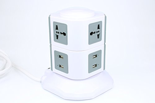 Sino Fish,Power Socket,6Way 4 USB Out Put,2M Extension Lead,Overload Protection Power Strip,USB Charging Port Support PCs, iPad, iPod, Smart Phones etc,Grey