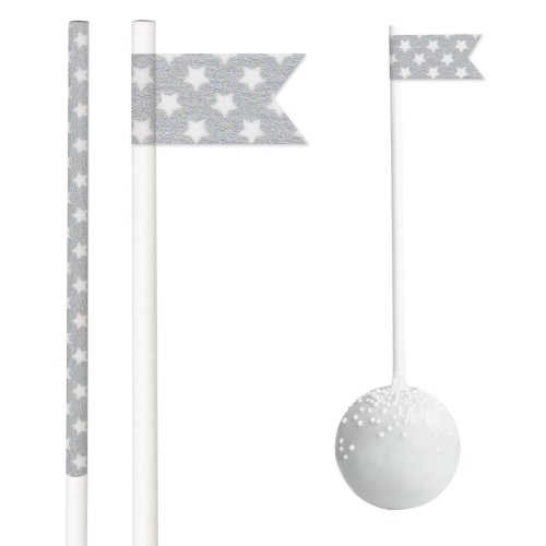 Dress My Cupcake Dmc30287 25-Pack Party Cakepop Sticks Diy Kit, 6-Inch, Mini White Stars On Silver front-519044