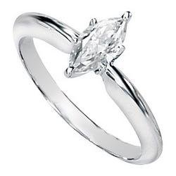14K White Gold Created Moissanite Solitaire Engagement Ring