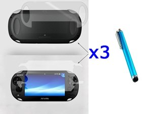 Bluecell 3 Set Front & Back Crystal Clear Screen Protector Lcd + Blue Stylus/Styli Universal Touch Screen Pen For Sony Ps Vita[Video Game]