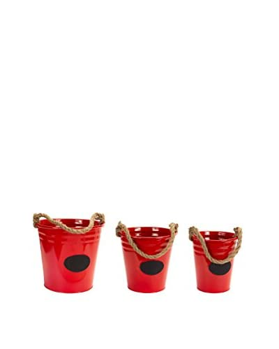 Melrose Set of 3 Red Chalkboard Buckets