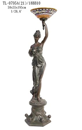 Classic European Lady Holding Tiffany Shade Torchere With