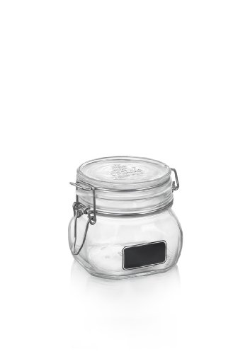 Bormioli Rocco Fido Square Clear Jar With Chalkboard, 17-1/2-Ounce