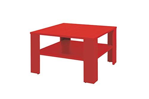 """Couchtisch """"Noah"""" Tisch Wohnzimmertisch quadratisch mit Ablage 25 67x67x44 cm Sonoma Eiche hell / rot / weiß *idealer Tisch für jedes Wohnzimmer* (Rot)"""