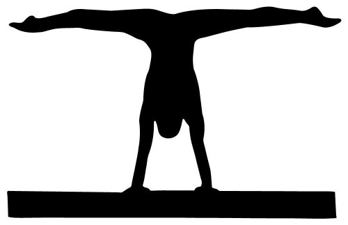Black Wall Decals Gymnastics Silhouette Style-6 Balance Beam-Black - 18 Inches X 12 Inches - Peel And Stick Removable Graphic front-658412