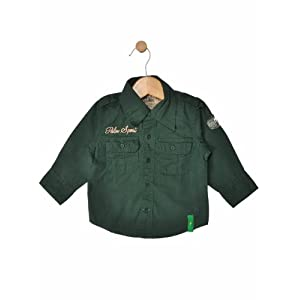 boys full sleeve shirt with double pockets, green, 18-24 m
