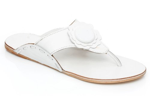 Image of Unze Women Flower Detailing Leather Thong Summer Day, Beach Slipper Kohlapuri Chappal - 10152 (B00531TA7U)