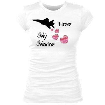 I Love My Marine: Custom Junior Fit Sheer Longer Crew Neck T-Shirt