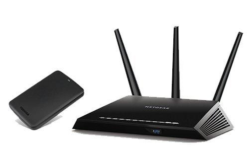 NETGEAR Nighthawk AC1900 Dual Band Wi-FI Gigabit Router (R7000) + Toshiba Canvio Basics 1TB Portable Hard Drive