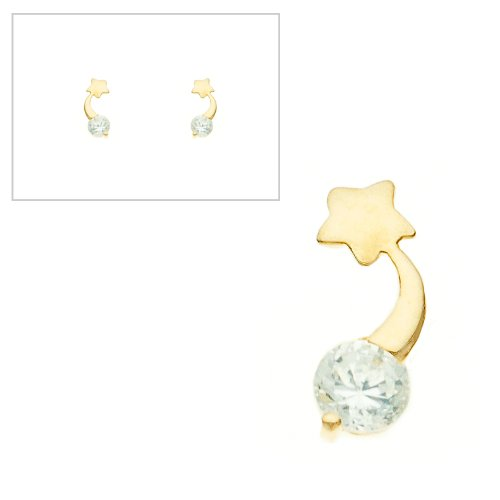 10KT Gold Star and CZ Earrings