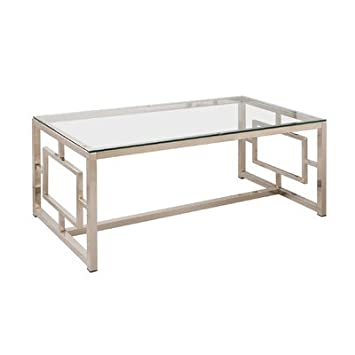 Contemporary Design Rectangular Uptown Coffee Table in Satin Plated Finish