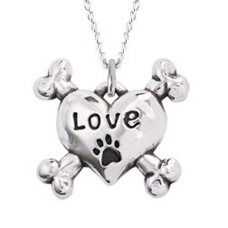Love Heart Cross Bone Sterling Silver