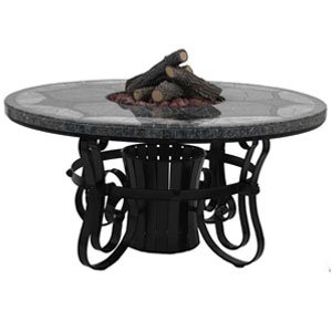 "Oasisfire Tft2960Mbbpb Traditional Style Fire Table-29"" Tall X 60"" Diameter, Morocco Design, Blues And Blacks Granite Colors, Poly Black Powder Coat Moroccocollection"